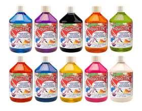 Aqua Tint Set, wasserbasierte, flüssige Tinte, 10 Standardfarben á 500 ml