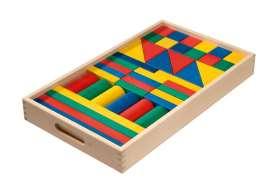 Bausteine im großen Holzkasten, farbig