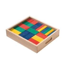 Bausteine im Holzkasten, farbig