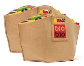 BIOBLO Bausteine-Doppelpack, 1.224 Stück, mit Filzkorb