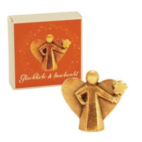 Bronze-Engel Glücklich und beschenkt