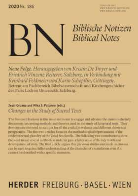 Changes in the Study of Sacred Texts. Biblische Notizen Band 186