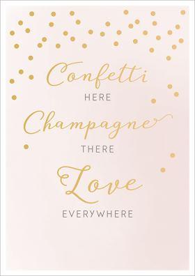 "Doppelkarte zur Hochzeit ""Confetti here, champagner there, love everywhere"""