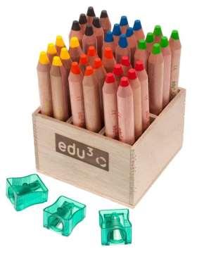 edu3 first - Wachsmalkreide im Holzaufsteller, mit 3 Spitzern