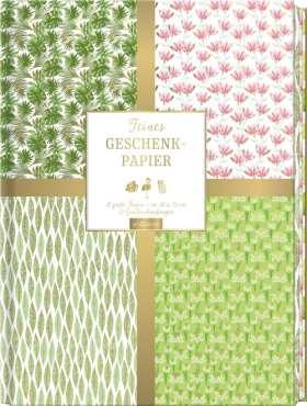 Feines Geschenkpapier, grün. 10 große Bögen, 12 Geschenkanhänger
