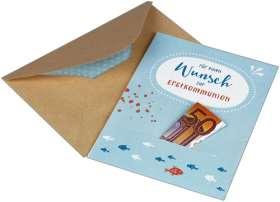 Für einen Wunsch zur Erstkommunion. Karte für ein Geldgeschenk