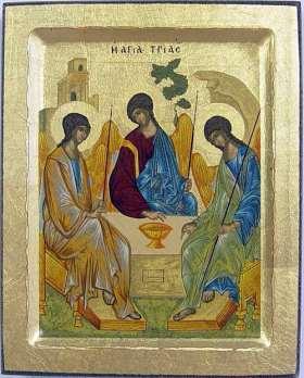 Griechische Ikone. Heilige Dreifaltigkeit