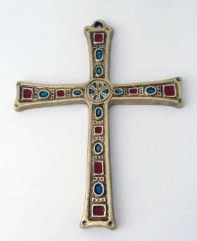 Handemailliertes Bronzekreuz