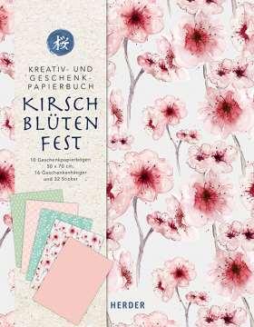 Kreativ- und Geschenkpapierbuch Kirschblütenfest. 10 Geschenkpapierbögen 50 x 70 cm - 16 Geschenkanhänger - 32 Sticker