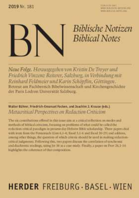 Metacritical Perspectives on Redaction Criticism. Biblische Notizen Band 181