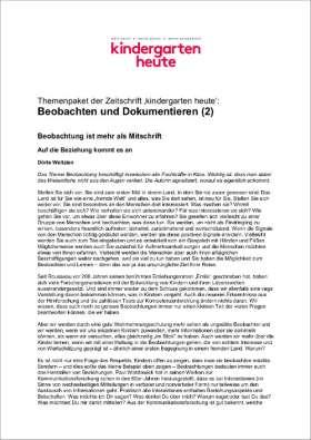 PDF: kindergarten heute Themenpaket. Beobachten und Dokumentieren (2)