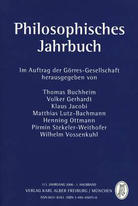 Philosophisches Jahrbuch. 113. Jahrgang 2006 - 1. Halbband