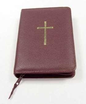 Reißverschlusshülle für das neue Gotteslob. weinrot mit Gold-Kreuz