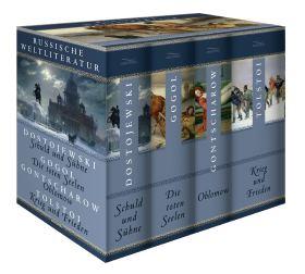 Russische Weltliteratur (4 Bände im Schuber). Schuld und Sühne; Die toten Seelen; Oblomow; Krieg und Frieden
