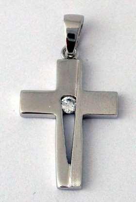 Silberkreuzchen. aus 925 Sterling-Silber mit Glasstein