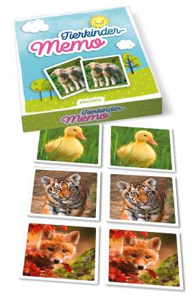 Tierkinder-Memo. 40 Spielkarten im Spielkarton